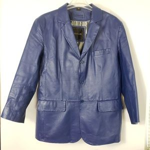 Excelled Navy Notch Collar Leather Sports jacket